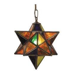 "Meyda Tiffany - Meyda Tiffany Moravian Star 9"" Multi-Colored  Modern / Contemporary Outdoor Pend - This Meyda Tiffany Moravian 9"" multi-colored modern/contemporary outdoor pendant light is a fun and interesting piece. It is named after the age-old Moravian belief that the star protected your home and brought good luck to your family. This fixture has multi-hue art glass panels in wonderful jewel tones of emerald, sapphire, citrine and ruby, and is sure to look good in any outdoor space."