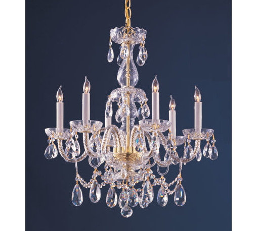 Crystorama Lighting Group - Traditional Polished Brass Six-Light Hand Cut Crystal Chandelier - - Traditional crystal chandeliers are classic, timeless, and elegant. Crystorama's opulent glass arm chandeliers are nothing short of spectacular. This collection is offered in a variety of crystal grades to fit any budget. For a touch of class, order this collection in Gold for traditionalists or in Chrome to match your contemporary or transitional decor. Crystorama Lighting Group - 1126-PB-CL-MWP