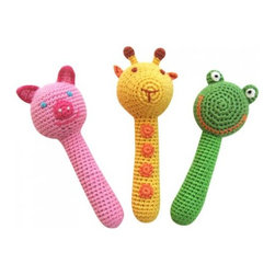 Animal Stick Rattles - - Recommended For Newborns And Older