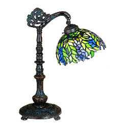 "Meyda Tiffany - 19""H Tiffany Honey Locust Bridge Arm Desk Lamp - The Honey Locust was popular floral design created by Louis Comfort Tiffany, more than a century ago. Decorative dome-shaped stained glass lampshades, with petal shaped edges depict clusters of Plum and Periwinkle flowers amid Spring Green leaves cascading towards the base. This one light wall sconce has complementary decorative hardware featuring our Mahogany Bronze finish."