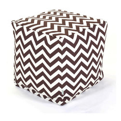 Majestic Home - Outdoor Chocolate Chevron Small Cube - Add style and color to your living room or outdoor seating arrangement with Majestic Home Goods Small Cube Ottoman. This cube is perfect for use as a footstool, side table or as extra seating for guests. Woven from outdoor treated polyester, these cubes have up to 1000 hours of U.V. protection and are able to withstand all of natures elements. The beanbag inserts are eco-friendly by using up to 50% recycled polystyrene beads, and the removable zippered slipcovers are conveniently machine-washable.