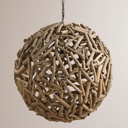 """World Market - 23"""" Driftwood Orb Chandelier - Our exclusive 23"""" Driftwood Orb Chandelier is hand assembled by skilled artisans in the Philippines with carefully harvested pieces of natural driftwood. Place a bulb inside to shine ambient light through this expertly curated, one-of-a-kind centerpiece."""