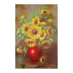Oriental Furniture - Hand Painted Sunflowers Still Life - The vibrant sunflowers in this hand-painted artwork are offset by the brilliant pop of red from the vase. The combination of colors and the elegant brushstrokes makes this still life a piece to treasure for years to come.