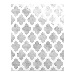 """Kess InHouse - Amanda Lane """"Gray Moroccan"""" Grey White Metal Luxe Panel (16"""" x 20"""") - Our luxe KESS InHouse art panels are the perfect addition to your super fab living room, dining room, bedroom or bathroom. Heck, we have customers that have them in their sunrooms. These items are the art equivalent to flat screens. They offer a bright splash of color in a sleek and elegant way. They are available in square and rectangle sizes. Comes with a shadow mount for an even sleeker finish. By infusing the dyes of the artwork directly onto specially coated metal panels, the artwork is extremely durable and will showcase the exceptional detail. Use them together to make large art installations or showcase them individually. Our KESS InHouse Art Panels will jump off your walls. We can't wait to see what our interior design savvy clients will come up with next."""