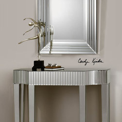 Ikona Mirrored Console Table - Add a dash of glamour to any living space with this handcrafted beveled-mirror console table. Beveled mirror facets on curved apron, top and legs. Matching mirror is also available.