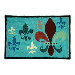 Homefires - Fancy Fleur de Lis Teal and Brown Rug - If you're not in danger of ever wearing a crown, you can still feel like you live in a palace. It's as simple as updating your decor with a machine washable, richly colored, lavishly decorated area rug. High tea will now be at your house.