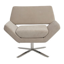 Euro Style - Euro Style Carlotta Lounge Chair X-NAT80050 - The second you sit, an orderly, angular look gives way to extremely comfortable experience. It's beautifully designed alchemy that brings together crisp geometry and that 'I'd rather not get up now' luxury.