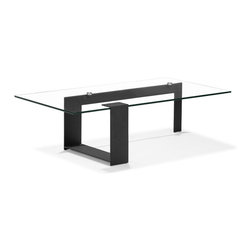 ZUO MODERN - Zeon Coffee Table Black - Fall in love with the long, asymmetrical lines running through the Zeon coffee table. With a clear tempered glass top and painted frame, this coffee table adds abstract art in a functional way in every room.