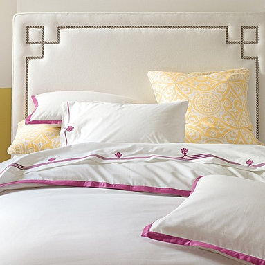Classic Whites Collection In Berry - If you're not sure about committing to a lot of ice cream color, here's a great bedding set with just the right amount.