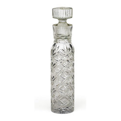 Go Home - Glass Bograd Decanter - Bograd Decanter glass surface handcut into a latticework of criss-crossing lines, petals, and leaves. Ideal for the home bar or sitting room, its stopper allows wine to breathe or keeps other liquors fresh and ready.