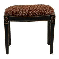 Safavieh - Safavieh Lindy Black Ottoman / Stool X-A2004HMA - Inspired by the rich fabrics that adorned furnishings and figures of the Renaissance, the Lindy Black Ottoman is a culmination of centuries of Old World European style.  Its elegant cotton seat is upheld by the heft of solid birch wood legs with java fini
