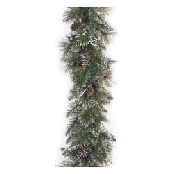"""National Tree Company - 6' x 10"""" Glittery Bristle Pine Garland with Cones - Deck your halls or any other room in your home with this glittery bristle pine garland with cones. This garland features metal-hinged construction for strength,is fire-resistant for safety and nonallergenic to prevent allergic reactions."""