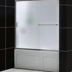 "DreamLine - DreamLine SHDR-0960580-04-FR Infinity-Z Tub Door - DreamLine Infinity-Z 56 to 60"" Frameless Sliding Tub Door, Frosted 1/4"" Glass Door, Brushed Nickel Finish"