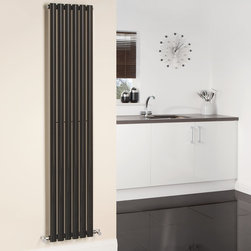 Hudson Reed - Hudson Reed Revive High Gloss Black Vertical Designer Radiator 70 x 14 - Hudson Reed - Revive High Gloss Black Vertical Designer Radiator 70 x 14  With a heat output of 1,120 Watts (3,823 BTUs), this vertical designer radiator, in a fashionable high gloss black finish (RAL9005), is stylish and highly efficient, ensuring that your room is heated quickly.  This luxury radiator is designed especially for use in any room, looking equally stylish in a modern or traditional setting; its six high gloss black vertical tubes bring a touch of elegance to any living space. This modern minimalist radiator is also highly functional, connecting directly into your domestic central heating system via the angled radiator valves included. This radiator comes complete with a 5 YEAR GUARANTEE.  High Gloss Black Vertical Designer Radiator 70 x 14 Details:  Dimensions: (H x W x D) 70 (1780mm) x 14 (354mm) x 2.25 (57mm) Output: 1,120 Watts (3,823 BTUs)  Pipe centres with valves: 16.95 (430m) Wall to centre of tapping: 2.5 (65mm) Number of vertical tubes: 6 (1 thickness) (25mm) Fixing Pack Included (see image above) Designed to be plumbed into your central heating system Suitable for bathroom, cloakroom, kitchen etc. Please note: angled radiator valves included  Please Note: Our radiators are designed for forced circulation closed loop systems only. They are not compatible with open loop, gravity hot water or steam systems.