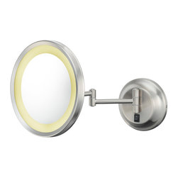 """Single-Sided LED Round Wall Mirror - The Single-Sided LED Wall Mirror has a large 9 ½"""" diameter face for large field of view.  It is available in a 5x magnification, as well as a 3x. Its 13"""" extension also allows for a wide range of movement. Its LED lights provide a bright white color. Available in four finishes."""