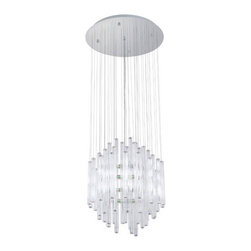 Eglo Lighting - Alexandira 89006A - Pendant Lamp | Eglo - Eglo Lighting Alexandira�89006A�Pendant Lamp features�chrome finish and crystal glass Manufacturer:�Eglo LightingSize:�19.63 in. diameter x 55.13 in. max height Light Source:�12 x 25 watt G9 lamp - included Certifications: ETL Location: Dry