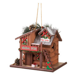 Gifts Galore - Holiday General Store Birdhouse - This adorable log cabin birdhouse features holiday accents and trim, including sparkling garland and wreaths and a frosted roof decorated with pine cones and more.  The birds will love making this little store their holiday home!
