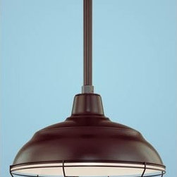 Millennium Lighting - R Series Architectural Bronze 17-Inch Warehouse Outdoor Pendant with 24-Inch Ste - Millennium Lighting?s R-Series RLM fixtures are constructed of cold rolled steel for durability. All painted finishes utilize UV stabilized paint that is baked in high temperature ovens enabling excellent adhesion and weathering properties for harsh outdoor environments.  -Please note the 1 ft. stem is pictured; actual stem measures 2 ft.  -Materials: Cold rolled steel, die cast zinc.  - Works on vaulted ceilings up to 25 degrees  Millennium Lighting - BKIT-RWHS17ABR-RSCKABR-RS2ABR-RWG17ABR