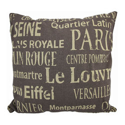 French Landmarks Brown Burlap with Tan Text Throw Pillow 16 In. - Add a French accent to your worldly decor with this decorative throw pillow. It features tan text in a variety of font styles of several points of interest and landmarks in France. The pillow measures 16 inches tall, 16 inches wide, has a removable burlap cover and 100% cotton padding inside. This pillow looks great on beds, chairs, and couches anywhere in your home, and the neutral colors are sure to complement most any decor.