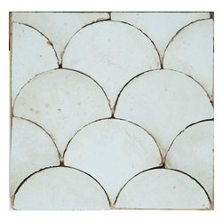 Curve Appeal - Hand Painted Terra Cotta Tile - Off White - Sold by the Piece