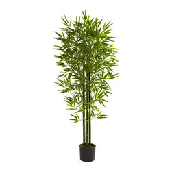 """Nearly Natural - Nearly Natural 5' Bamboo Tree UV Resistant (Indoor/Outdoor) - Liven up your decor - indoors or out -with this regal Bamboo tree. Standing 60"""" in height (that's 5 feet tall), it features three stout Bamboo chutes, sprouting more than 875 leaves. Seemingly coming right from the jungle to you, this tree is an indoor / outdoor piece, and is fully UV resistant. Perfect for both home or office decorating, it makes a fine gift as well."""