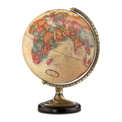 "Replogle - Sierra Desktop World Globe - This 12"" antique-ocean desktop globe pushes the envelope of classic form.   An antique brass and black metal base is the foundation upon which this globe is built.  The Sierra globe features an up-to-date raised-relief political world map, longitude and latitude lines, calibrated (numbered) semi-meridian."