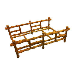 Used Gilded Bamboo Towel or Napkin Holder - This is a gorgeous vintage piece. Gold metal faux bamboo can be used in the kitchen to hold napkins or in athebathroom for hand towels.