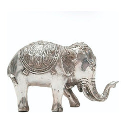 Brilliant Imports - Grand Elephant - Bright and grand, this elephant is regal in his presence.  Smaller sizes and styles are also available.  Silver-plated copper with soothing patina.