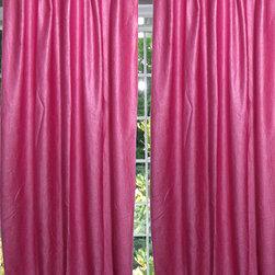 Mogul Interior - Pink Tab Top Sari Curtain / Drape / Panel- Pair Window Treatment - Polyester Sari fabric.