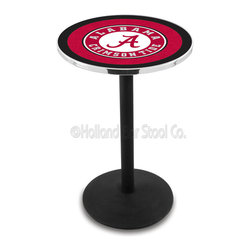 Holland Bar Stool - Holland Bar Stool L214 - Black Wrinkle Alabama Pub Table - L214 - Black Wrinkle Alabama Pub Table belongs to College Collection by Holland Bar Stool Made for the ultimate sports fan, impress your buddies with this knockout from Holland Bar Stool. This L214 Alabama table with round base provides a commercial quality piece to for your Man Cave. You can't find a higher quality logo table on the market. The plating grade steel used to build the frame ensures it will withstand the abuse of the rowdiest of friends for years to come. The structure is powder-coated black wrinkle to ensure a rich, sleek, long lasting finish. If you're finishing your bar or game room, do it right with a table from Holland Bar Stool. Pub Table (1)