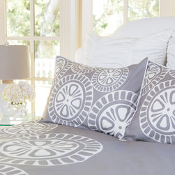 Crane & Canopy - Sunset Duvet Cover- King/Cal King - The Sunset Grey duvet cover is a one-of-kind bedding collection featuring our favorite geometric pattern as it whimsically cascades down a grey palette.�