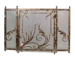 Custom Luxury Iron 3 panel Fireplace Screen - Add a unique look to your fireplace with this handcrafted, steel flames iron fireplace screen. This is a one-of-a-kind 3 panel bronze screen with unique floral accents.