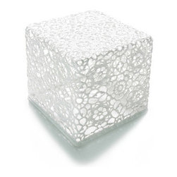 Droog - Crochet End Table - Crochet goes on the table, right? Think again! Cotton lace crochet, handmade by the Marcel Wanders crochet team, has been combined with Epoxy resin and skillfully handcrafted to create a truly unique end table that will add soft elegance to any room.