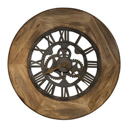 "HOWARD MILLER - Georgian Large Gallery Wall Clock - This 33"" diameter oversized gallery wall clock features a heavily distressed rustic wood frame with a driftwood finish and burnished edges."