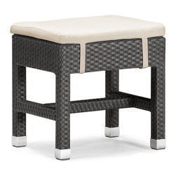 Zuo Modern - Myrtle Single Bench - The Myrtle table set is the ultimate outdoor entertainment set, perfect for a large patio or backyard; it consists of a table, a long double bench, and single stool. The frames are constructed from epoxy coated aluminum and the weave from UV treated polypropylene for maximum resistance against the elements. The Table has a 10 mm thick clear tempered glass top and the Stool cushions are made with a UV and moisture resistant washable polyester fabric. The seat cushions are removable for convenience and option. The table seats six comfortably with two benches and two stools. Complete your backyard barbeque with this fun set!