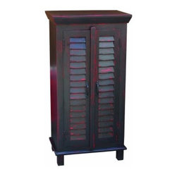 YOSEMITE HOME DECOR - Shutter Door Storage Cabinet - This solid mango storage chest features two faux shutter doors. Two solid mango shelves rest behind the two doors and  provide for ample storage space. Shown in a rubbed red/worn black  finish w/color matching wood knobs. Assembled and made in India.  Item Dimension in 24inches Width X 16inches Depth X 48inches Height