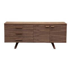 Kardiel - Kardiel Circa 1958 Charles Credenza Mid-century Modern Dresser Cabinet, Walnut W - The best of the past meets the best of the present. A delicious juxtaposition occurs when housing the latest in wireless home electronics with a modern cabinet design from the late 1950's. Ahead of its time in functionality, the Charles Credenza features to significant front doors revealing a large open space with full width center shelf ideal for compartmentalizing electronics or general storage. 3 generous width drawers operating on smooth metal glides provide plenty of room for stashing anything imaginable. Charles features quality hand craftsmanship worthy of introducing into your collection. Solid American Walnut handles & base its American Walnut Wood veneer body are carefully finished and polished to a rich natural luster.