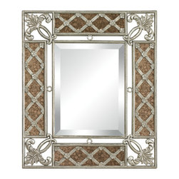 Sterling Industries - Sterling Industries 132-010 Antique Glass Framed Mirror w/ Silver Scroll Work - Mirror (1)