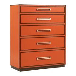 Lexington - Lexington Aquarius Drawer Aria Chest in Tangerine Leather - Unforgettable statement pieces are the benchmark for inspired design, attracting the eye and soul with irresistible colors, shapes, and materials. These signature items redefine home furnishings as art, imparting energy and impact to any room. Crafted from a remarkable array of materials including polished stainless, faux Shagreen leather, colored glass, Lucite, and exotic veneers, the extraordinary statement pieces of Aquarius will inspire your sense of style. Todays modern design defies traditional or contemporary stereotypes in favor of making a unique statement of personal style. We invite you to a new age of self-expression. Welcome toAquarius, and a new age in modern design.