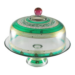 Christmas  Garland Cake Dome - This lovely hand painted cake dome is from our Mosaic collection and inspired by the colorful tiles of the Alhambra.  This collection is perfect for Christmas or any occasion.  Something to be handed down from generation to generation.  Proudly hand painted in the USA.