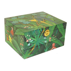 Wayborn - Jewelry Box in Multicolor Finish - Top lift box. 1 Drawer. Parrot design. Made from Cedar plywood. Brush strokes & light crackle finish. 12 in. L x 9.5 in. W x 6.5 in. H (6 lbs.)