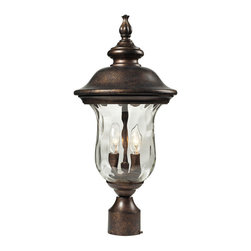 Elk - Lafayette 2 Light Post Mount in Regal Bronze - This classic outdoor design incorporates a beautifully detailed backplate and timeless arching arm that holds a flowing, blown water glass body. Constructed of durable cast aluminum and finished in regal bronze.