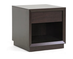 """Baxton Studio - Baxton Studio Girvin Brown Modern Accent Table and Nightstand - This minimalist, unobtrusively-designed modern living room table can double in purpose as a nightstand and excels at both.  Our Girvin Designer End Table is built in Malaysia with an engineered wood frame, non-marking feet, brown faux wood grain paper veneer, and a single drawer. This modern nightstand requires assembly and should be dusted clean with a dry cloth. Dimension:22.2""""Wx22.125""""Dx22.25""""H, shelf dimension:21""""Wx20.5""""Dx10.25""""H, drawer dimension: 15.875""""Wx15.125""""Dx3.75""""H"""