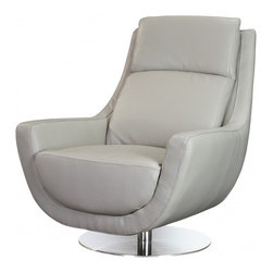 White Line Imports - Germany Swivel Chair in Gray Leather - Features: