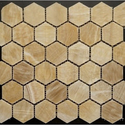 "Honey Polished Hexagon Pattern Mesh-Mounted Onyx Tiles - 2"" x 2"" Honey Mesh-Mounted Hexagon Pattern Onyx Mosaic Tile is a great way to enhance your decor with a traditional aesthetic touch. This polished mosaic tile is constructed from durable, impervious onyx material, comes in a smooth, unglazed finish and is suitable for installation on floors, walls and countertops in commercial and residential spaces such as bathrooms and kitchens."