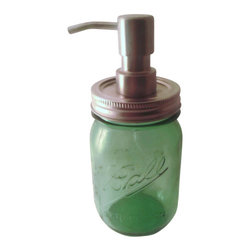 Foaming Spring Green Mason Jar Soap Dispenser - This Ball Jar soap dispenser will add rustic charm to any bathroom. It is handmade from a new repurposed Special Limited Edition American Heritage Collection Spring Green Commemorative Embossed Pint Jar. The jar alone is approximately 5 1/2 inches tall and with the soap dispenser pump it is approximately 7 1/2 inches.The lid and ring are the original pewter color and it has a chrome plated metal foaming pump.