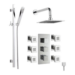 """Hudson Reed - Chrome Triple Thermostatic Shower System With 7"""" Head 6 Body Jets and Handset - The Hudson Reed Kubix Thermostatic Triple Shower Valve (3 Outlet) features square controls for fingertip control. Constructed from brass and with modern ceramic disc technology, this chrome finish minimalist shower valve supplies water to either the fixed shower head, a handset or 6 body jets."""