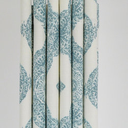 Shower Curtain, Aqua Medallion by Pond Lilly - Buy a beautiful, extra-long shower curtain and hang it as high as you can for drama. This this one is made with designer fabric.