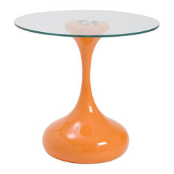Eurostyle - Eurostyle Sheila Side Table in High Gloss Orange and Clear - Eurostyle - End Tables - 25850ORGA25850CLRGKIT