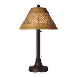 Patio Living Concepts - Patio Living Concepts Java 30 Inch Table Lamp w/ 2 Inch Bronze Tube Body & Diamo - 30 Inch Table Lamp w/ 2 Inch Bronze Tube Body & Diamond Center Pattern Weave Antique Honey Wicker Shade belongs to Java Collection by Patio Living Concepts All-weather handwoven center diamond pattern PVC wicker shade highlights the opal polycarbonate light globe in this elegant outdoor lamp. Features weatherproof all resin construction with heavy weighted base, two level dimming switch and 16 ft. weatherproof cord and plug. Waterproof light bulb enclosure allows the use of a standard 60 watt light bulb. Model # 16217 Lamp (1)